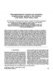Hydrogeochemical analysis and evaluation of groundwater quality in ...