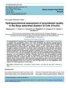 Hydrogeochemical assessment of groundwater ... - Academic Journals