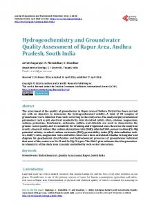 Hydrogeochemistry and Groundwater Quality Assessment of Rapur ...