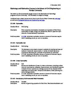 Hydrology and Hydraulics Courses in the School of Civil - College of ...