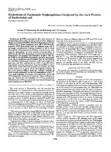 Hydrolysis of Nucleoside Triphosphates Catalyzed by the recA Protein ...