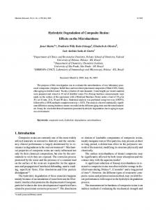 Hydrolytic Degradation of Composite Resins