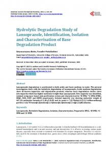 Hydrolytic Degradation Study of Lansoprazole, Identification, Isolation ...