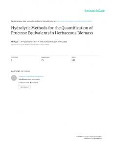 Hydrolytic Methods for the Quantification of Fructose