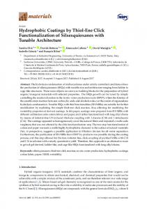 Hydrophobic Coatings by Thiol-Ene Click Functionalization of ... - MDPI