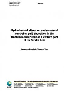 Hydrothermal alteration and structural Hanhimaa shear zone and