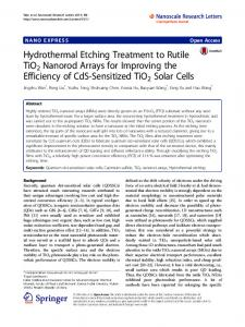 Hydrothermal Etching Treatment to Rutile TiO2 ... - Semantic Scholar
