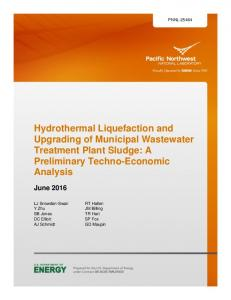 Hydrothermal Liquefaction and Upgrading of Municipal Wastewater ...