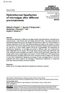Hydrothermal liquefaction of microalgae after ... - SAGE Journals