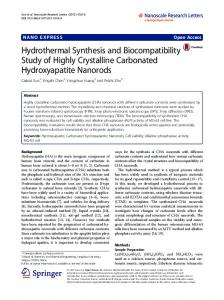 Hydrothermal Synthesis and Biocompatibility