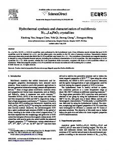 Hydrothermal synthesis and characterization of