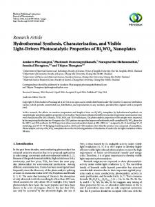 Hydrothermal Synthesis, Characterization, and Visible Light-Driven