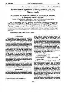Hydrothermal Synthesis of CeO2 and Ce0.9Fe0.1O2 Nanocrystals