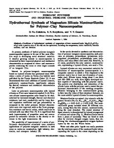 Hydrothermal Synthesis of Magnesium Silicate Montmorillonite for ...
