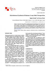 Hydrothermal Synthesis of Platinum Group Metal Nanoparticles
