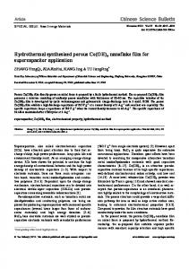 Hydrothermal synthesized porous Co (OH) 2 nanoflake film for ...