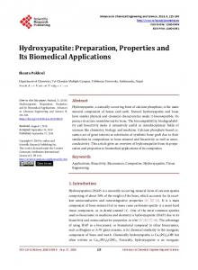 Hydroxyapatite: Preparation, Properties and Its