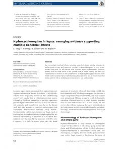 Hydroxychloroquine in lupus: emerging ... - Wiley Online Library