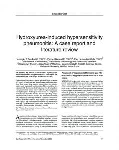 Hydroxyurea-induced hypersensitivity pneumonitis: A case ... - Hindawi