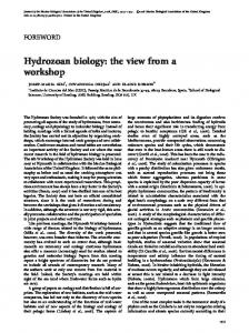 Hydrozoan biology: the view from a workshop