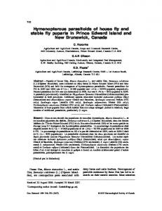 Hymenopterous parasitoids of house fly and stable fly ... - BioOne