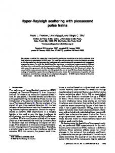 Hyper-Rayleigh scattering with picosecond pulse ... - OSA Publishing