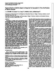 Hyperactivation of Stallion Sperm Is Required for Successful In Vitro ...