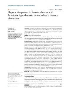 Hyperandrogenism in female athletes with functional ...