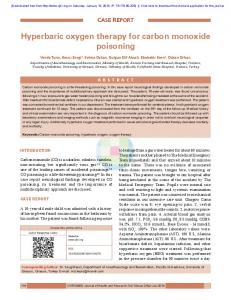 Hyperbaric oxygen therapy for carbon monoxide ...