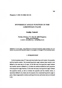 HYPERBOLIC ANGLE FUNCTION IN THE LORENTZIAN PLANE ...