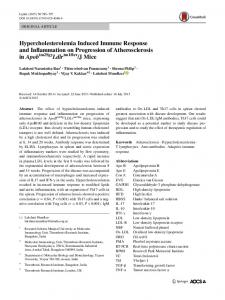 Hypercholesterolemia Induced Immune Response and ... - Springer Link