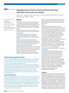 Hyperglycaemia and risk of adverse perinatal outcomes - The BMJ