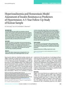 Hyperinsulinemia and Homeostasis Model Assessment of Insulin ...