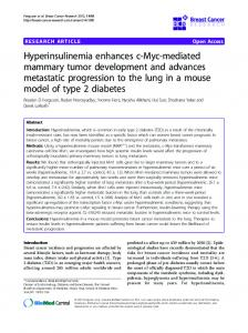 Hyperinsulinemia enhances c-Myc-mediated mammary tumor ...