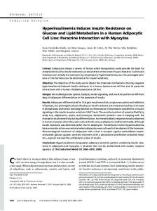 Hyperinsulinemia Induces Insulin Resistance on Glucose and Lipid ...