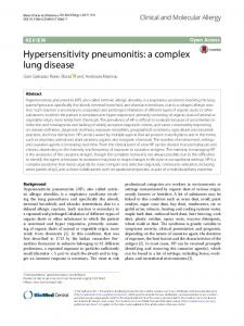 Hypersensitivity pneumonitis: a complex lung disease - Clinical and ...