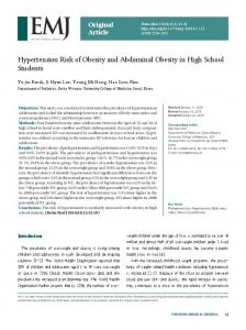 Hypertension Risk of Obesity and Abdominal Obesity in High School