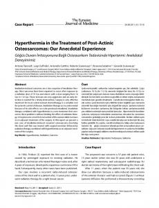 Hyperthermia in the Treatment of Post-Actinic Osteosarcomas: Our