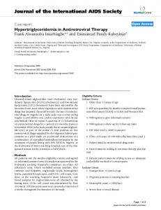 Hypertriglyceridemia in Antiretroviral Therapy