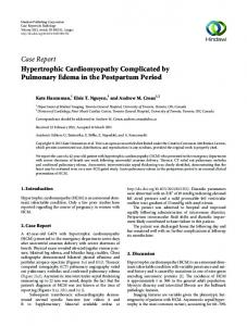 Hypertrophic Cardiomyopathy Complicated by Pulmonary Edema in ...