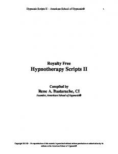 HYPNOTHERAPY SCRIPTS IV - Hypnosis Training Schools