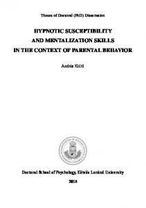 Hypnotic Susceptibility and Mentalization Skills