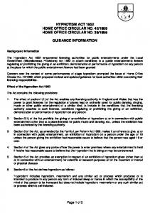 Hypnotism licence guidance notes
