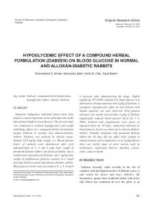 hypoglycemic effect of a compound herbal formulation