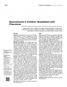 Hyponatremia in Children Hospitalized with Pneumonia
