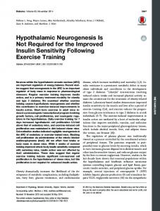 Hypothalamic Neurogenesis Is Not Required for the ... - Diabetes