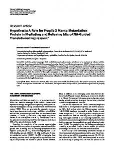 Hypothesis: A Role for Fragile X Mental Retardation Protein in ...
