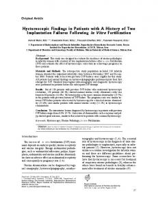 Hysteroscopic Findings in Patients with A History