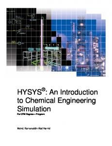 HYSYS : An Introduction to Chemical Engineering ...