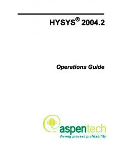 HYSYS Operations Guide
